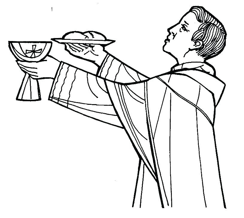 815x728 Catholic Mass Coloring Pages Priest Coloring Page Catholic
