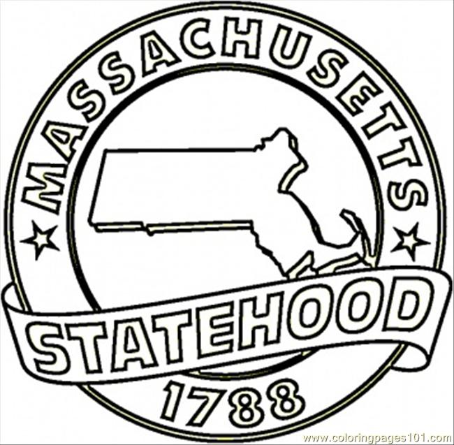 650x637 Commonwealth Of Massachusetts Coloring Page