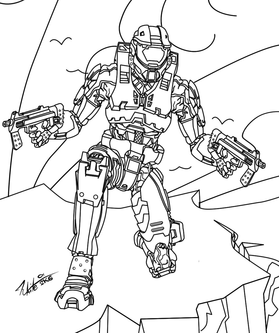 960x1143 Halo Master Chief Coloring Pages