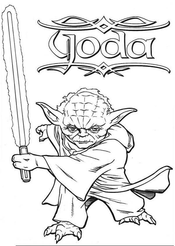 600x840 Master Yoda Swing Light Saber In Star Wars Coloring Page