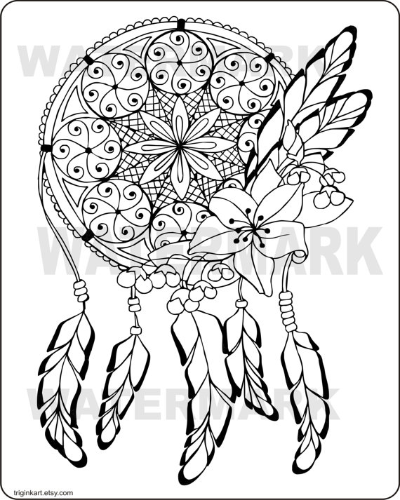 570x713 Dream Catcher Adult Coloring Page Adult Coloring, Dream Catchers