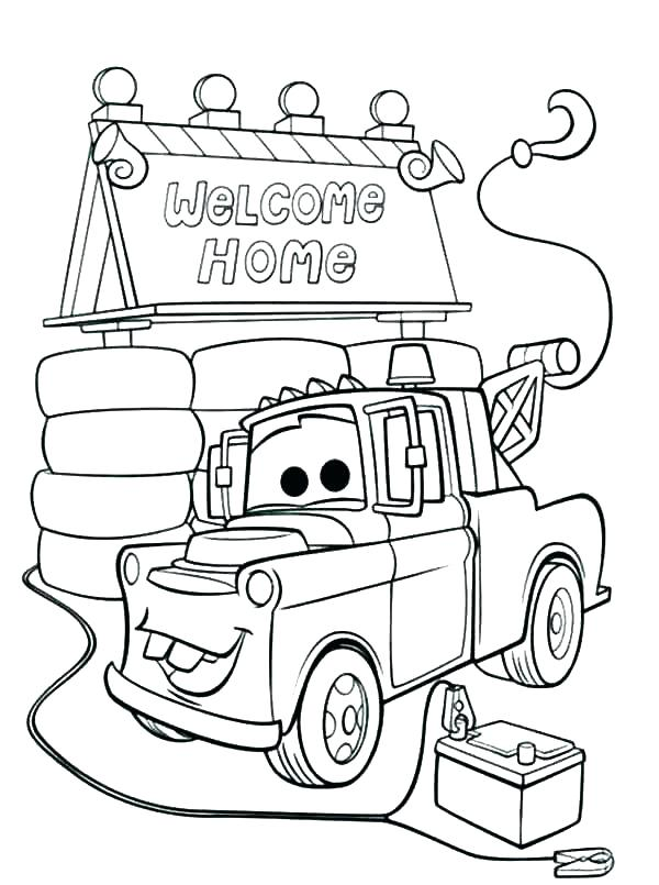 600x805 Tow Mater Coloring Pages Tow Mater Coloring Pages Free Stock Cars