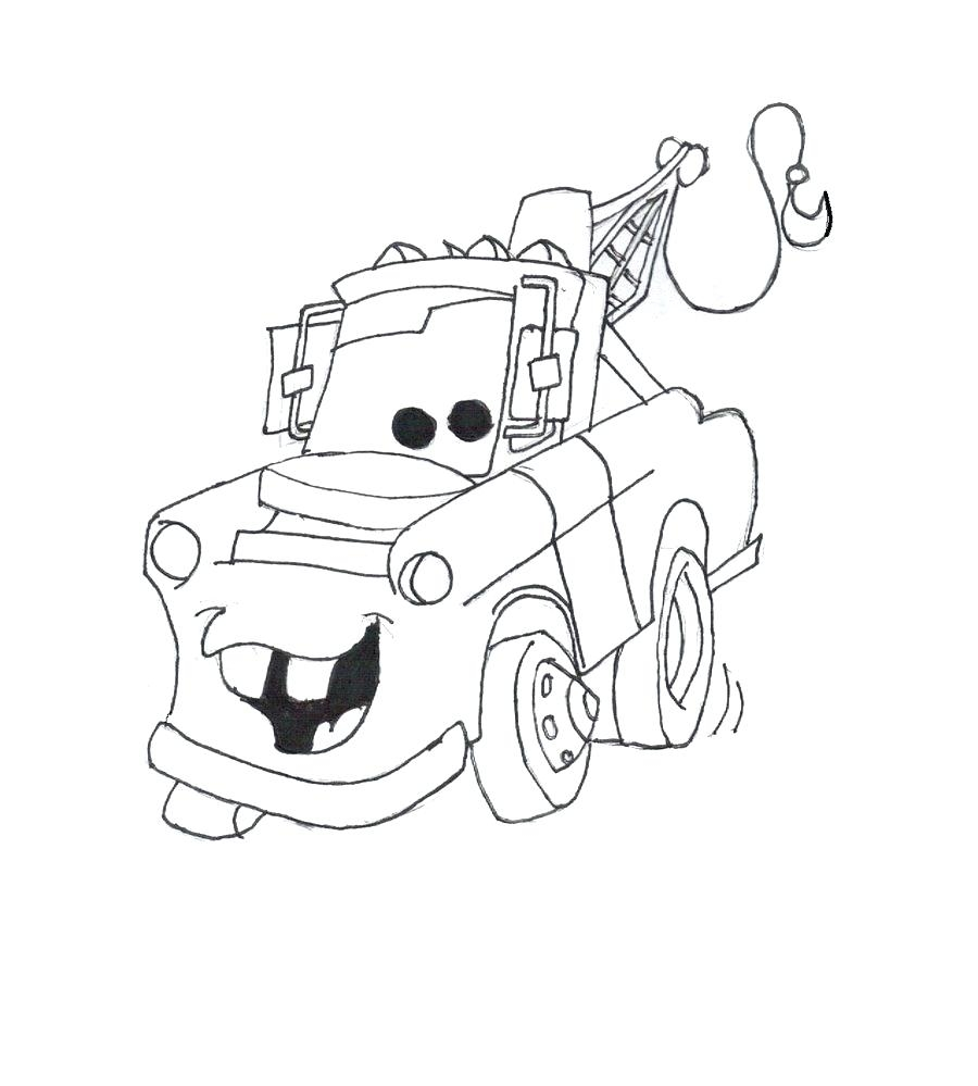 900x999 Simple Tow Mater Coloring Pages Free Awesome Disney Gallery