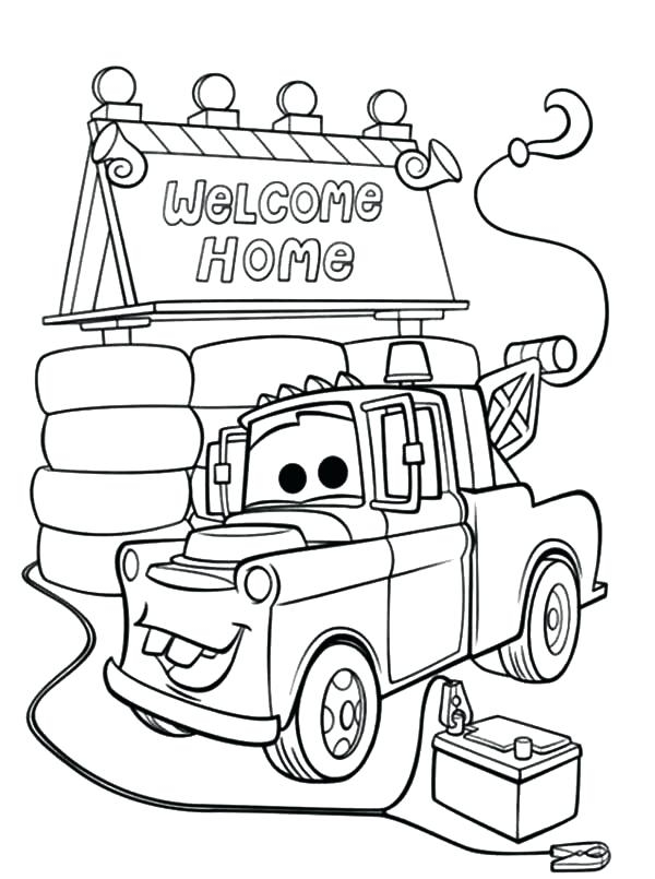 600x805 Tow Mater Coloring Pages Free Mater Coloring Page Tow Mater