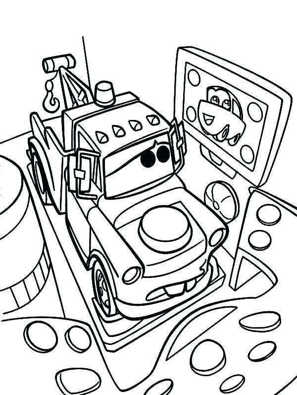 600x797 Tow Mater Coloring Pages Lightning And Mater Coloring Pages Tow