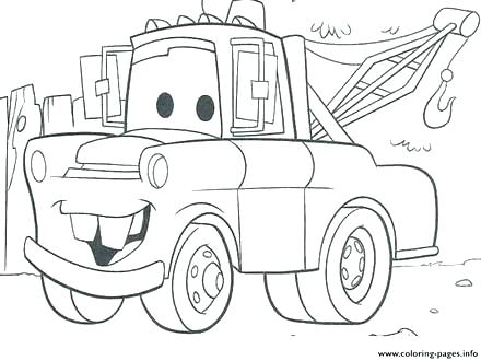 440x330 Tow Mater Coloring Pages Tow Mater Coloring Pages Free Stock Cars