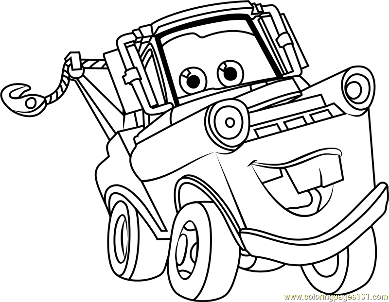 800x622 Tow Mater From Cars Coloring Page