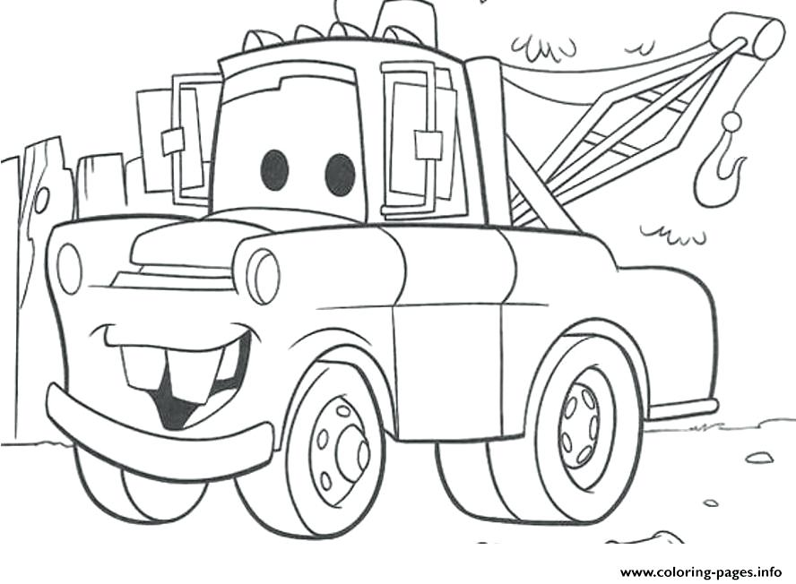 888x652 Color In Pages Mater Coloring Pages Free Cars Mater Coloring Pages