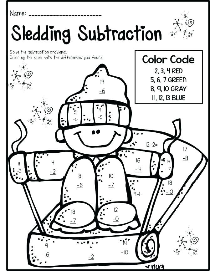 671x866 Subtraction Coloring Pages