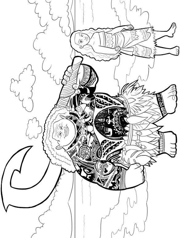 594x772 Coloring Page Moana And Maui Moana {disney} Moana