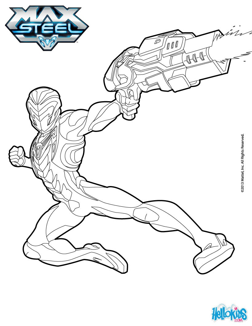 820x1060 Max Steel Holds His Gun Coloring Pages