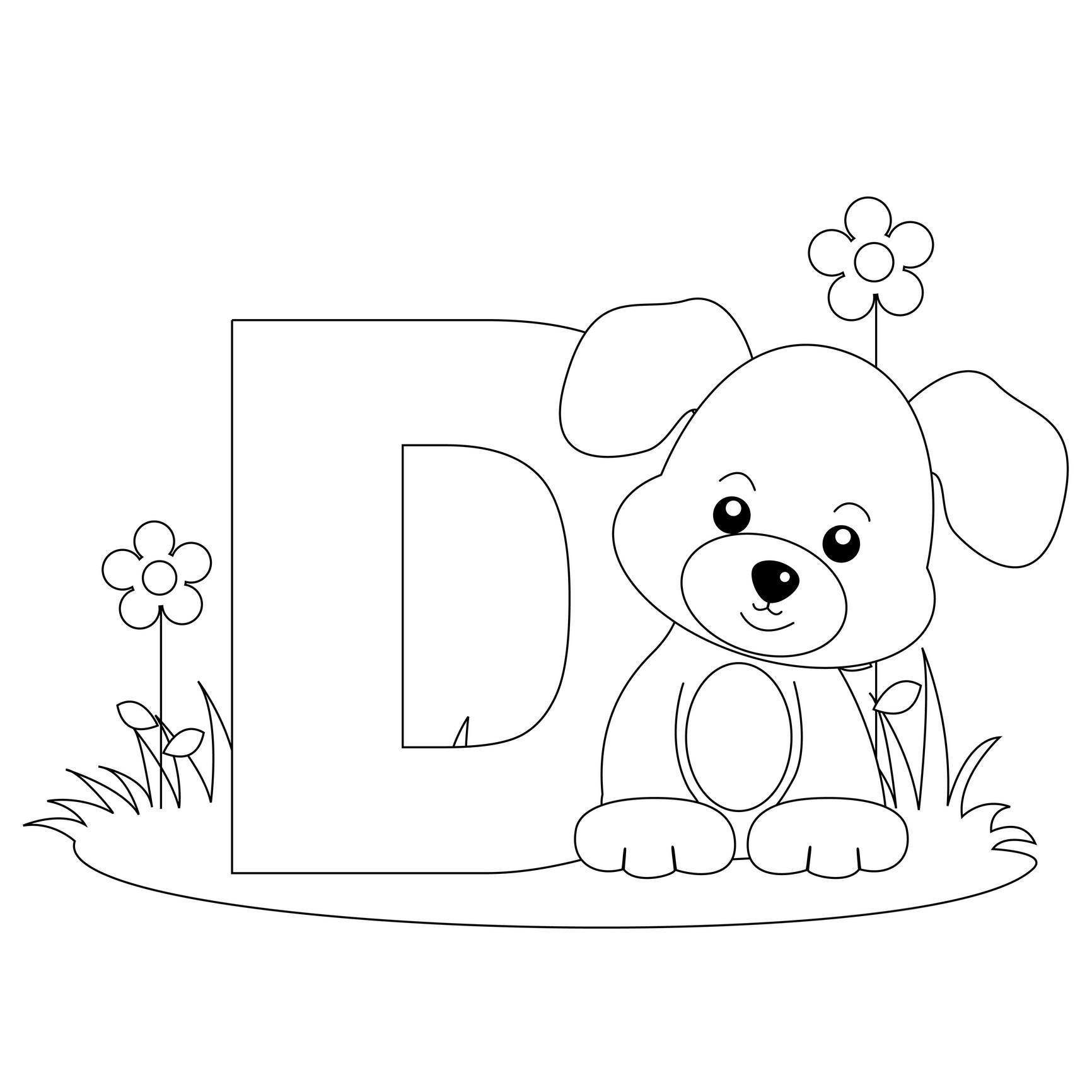 1732x1732 Letter D Color Page
