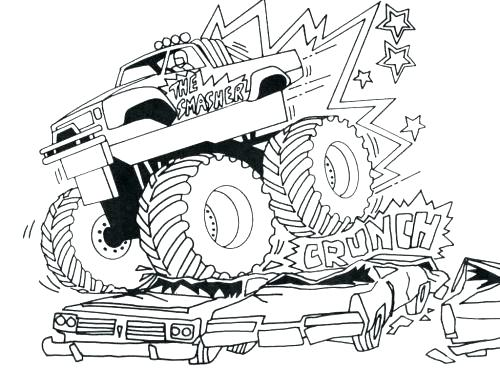 500x368 Monster Truck Colouring In Max D Monster Truck Coloring Pages