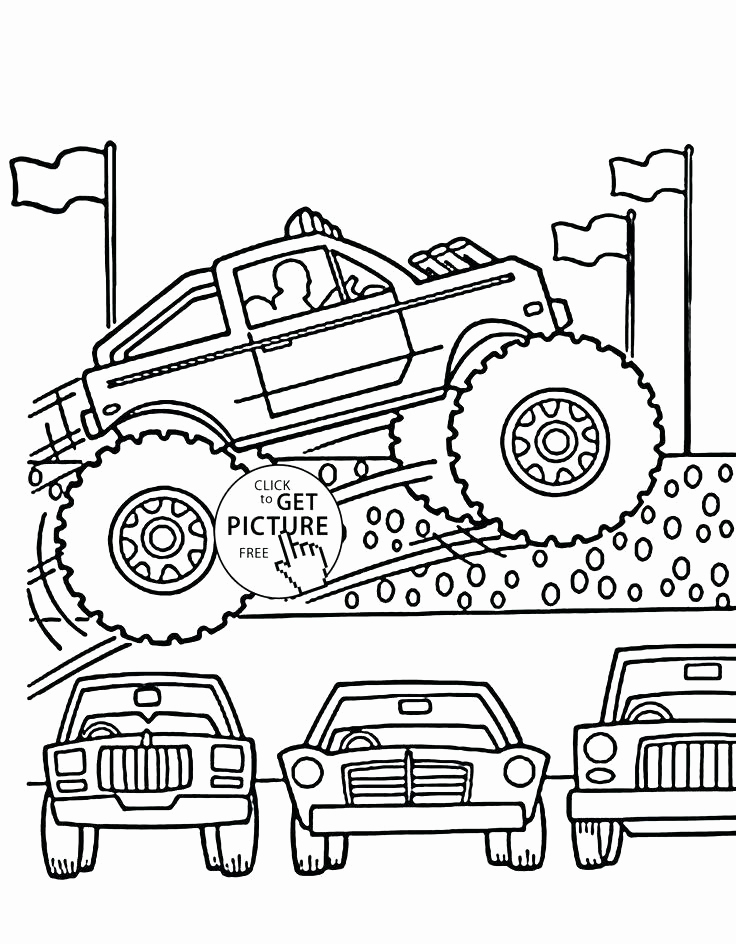 736x944 Max D Monster Truck Coloring Pages To Her With Monster Truck Ice