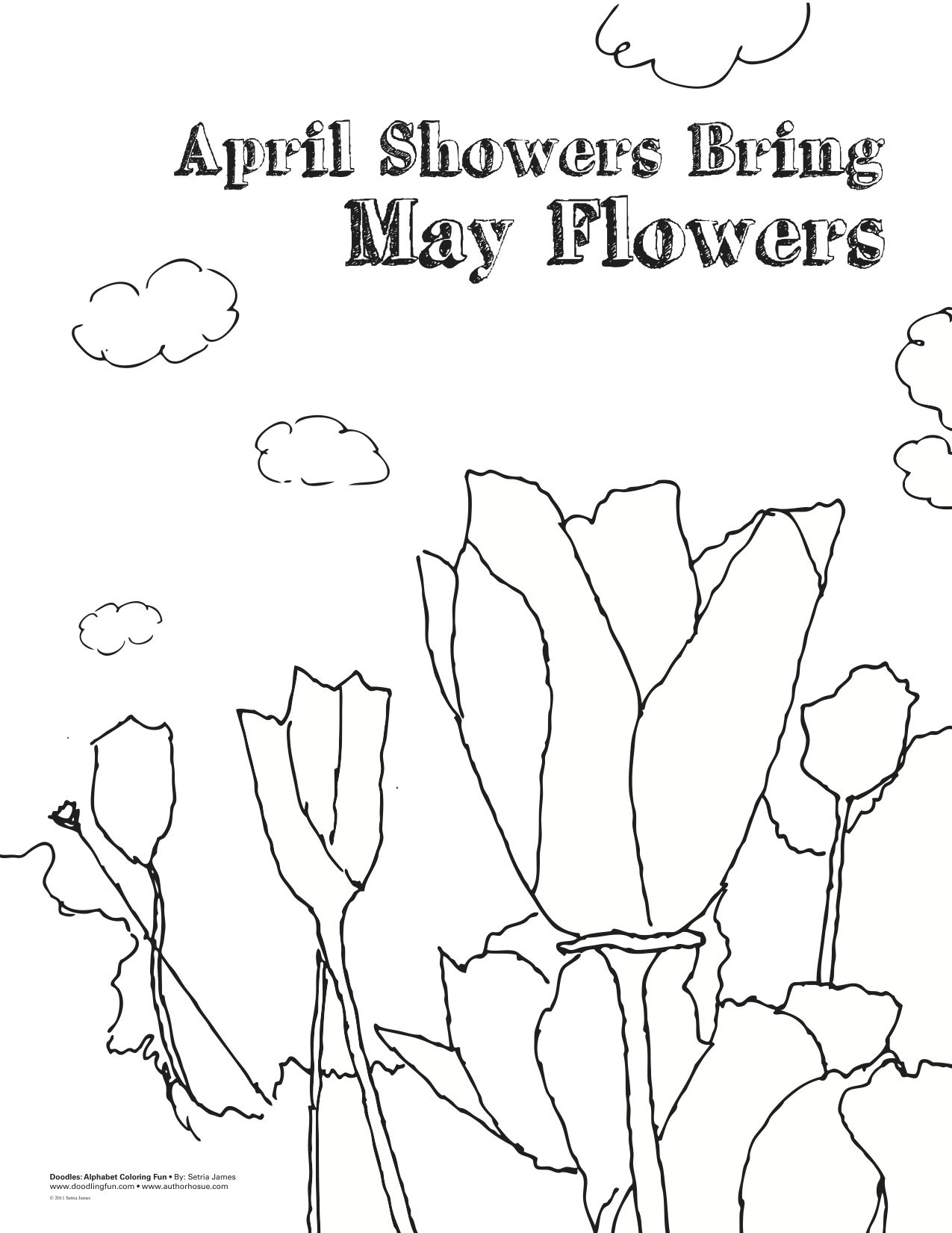 1275x1651 April Showers Bring May Flowers Coloring Page, April Showers