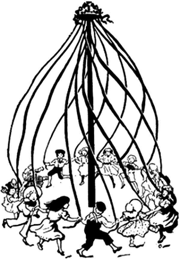 The best free Maypole coloring page images. Download from ...