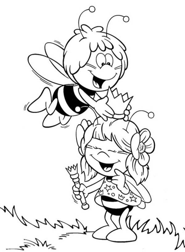 600x814 Maya The Bee Put A Crown To Her Friend Head Coloring Pages Batch