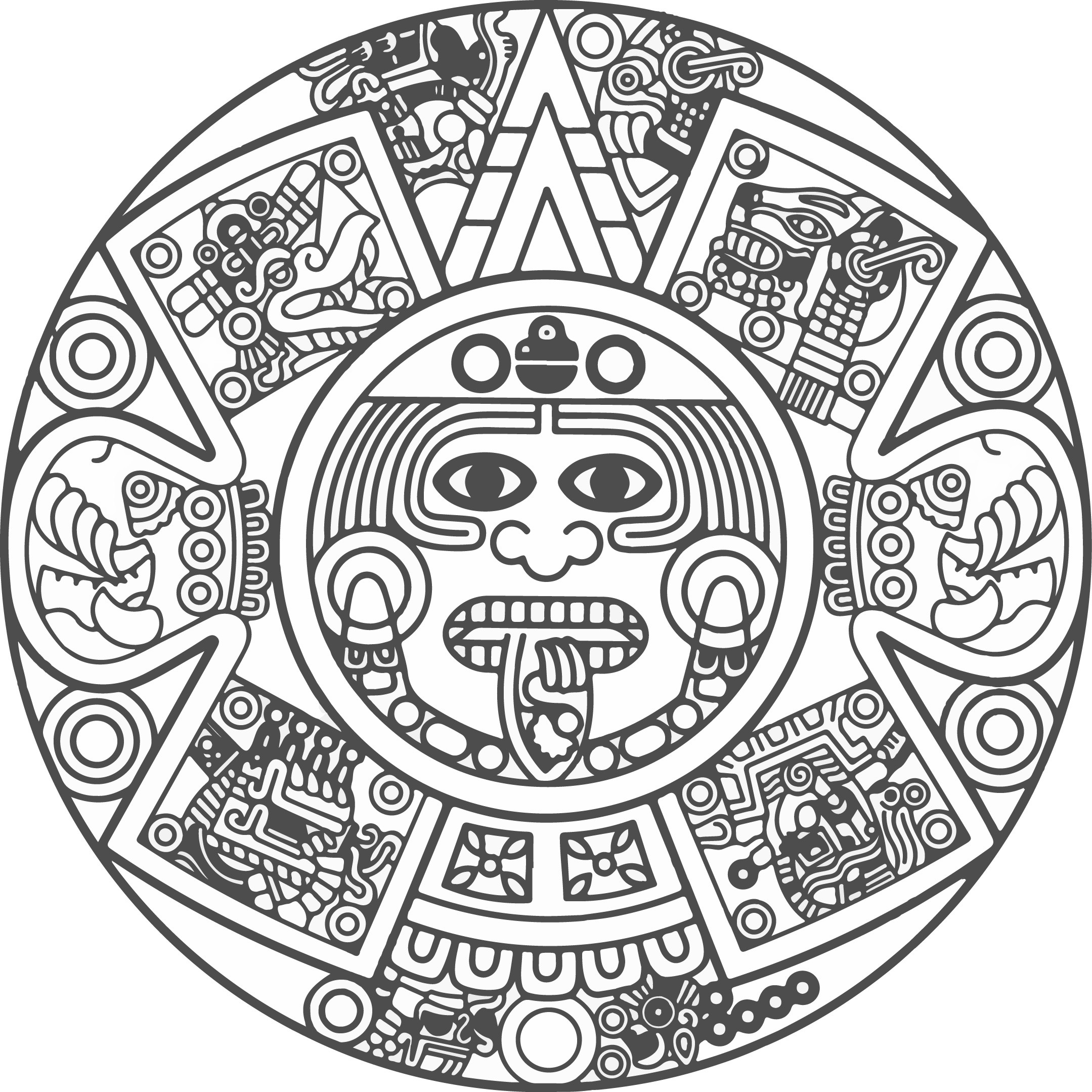2159x2158 Mayan Calendar Coloring Page Copy Pages