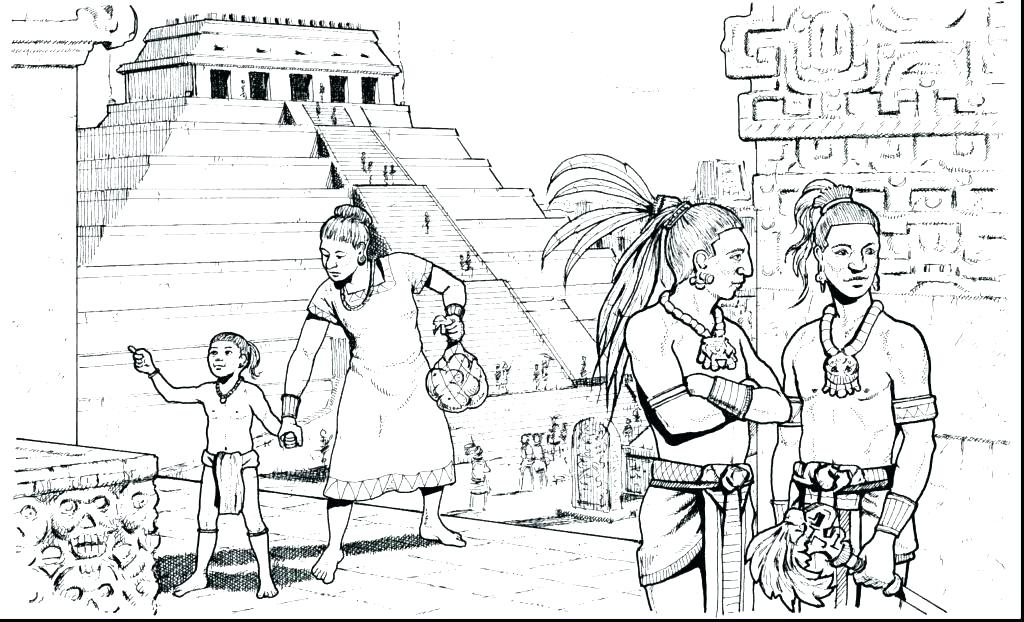 1024x622 Mayan Calendar Colouring Page Coloring Pages Mythology Gods
