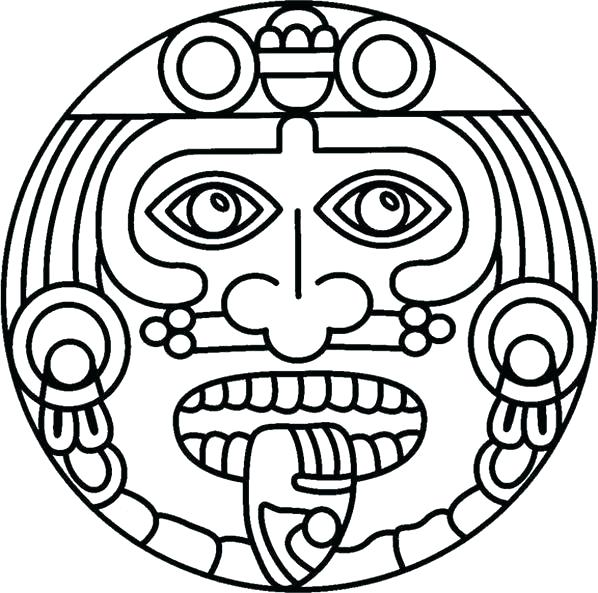 598x593 Mayan Coloring Pages Cottage Coloring Page Mayan Mask Coloring