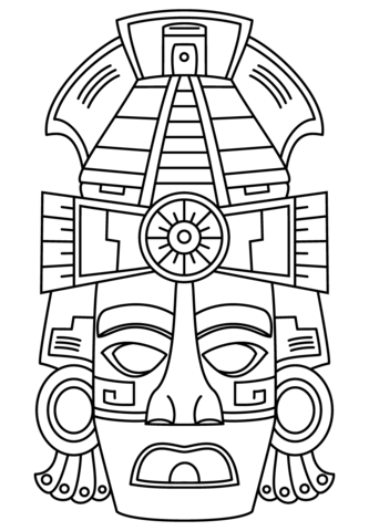 333x480 Mayan Face Mask Coloring Page Mayan Art Category Select