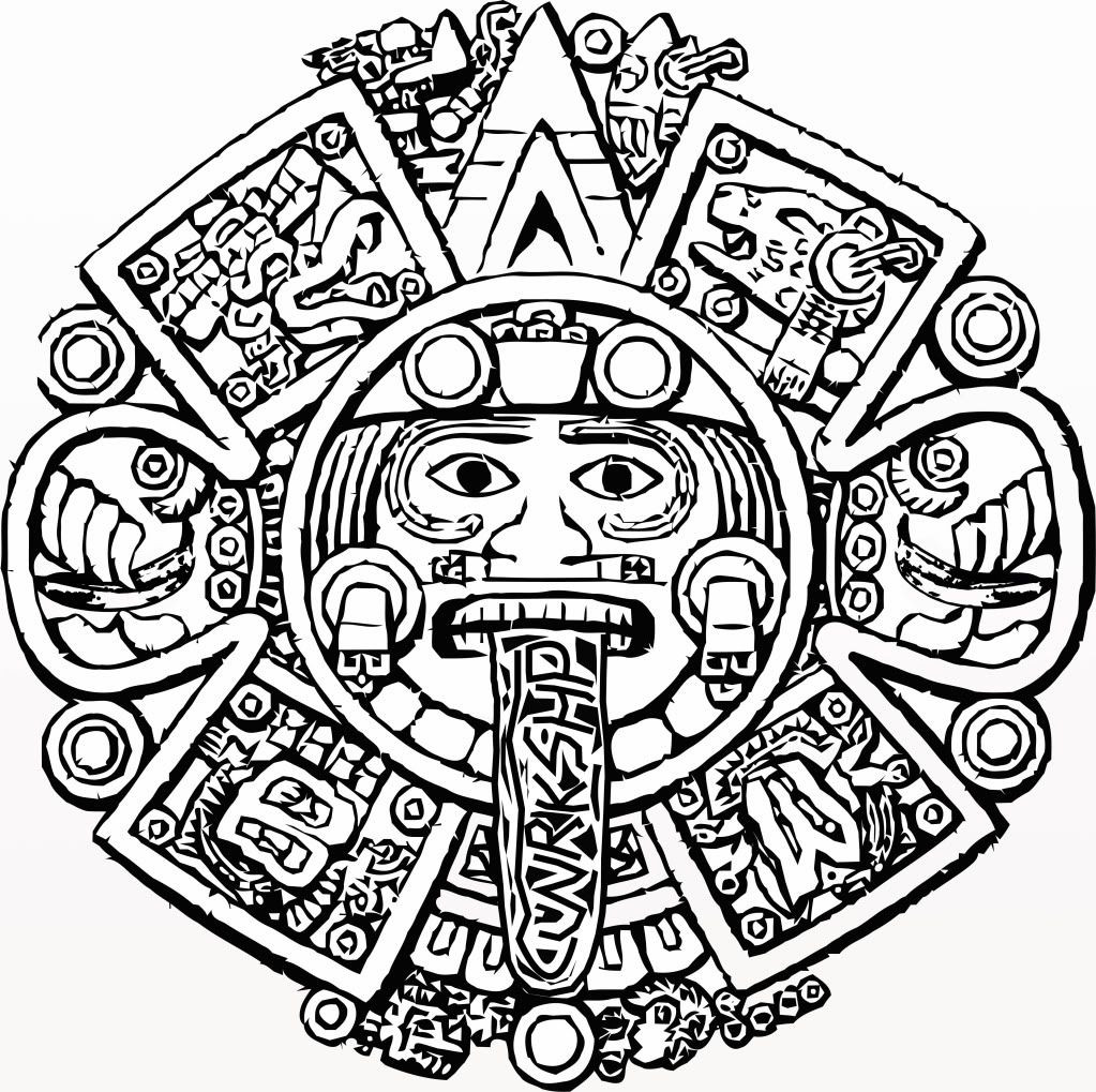1023x1019 Coloring Pages Mayan Calendar Aztec Page