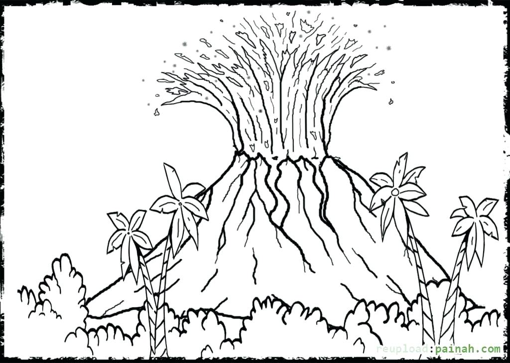 1024x728 Volcano To Colour In Volcano Coloring Page Colour Volcano Red