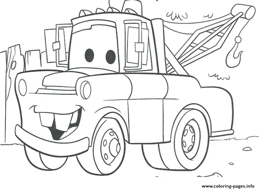 888x652 Cars Coloring Pages Lightning And Sally Cars Mater Truck Coloring
