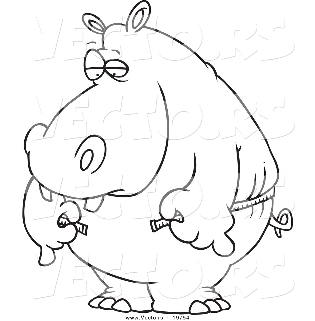 1024x1044 Vector Of A Cartoon Big Hippo Measuring His Waist With A Short