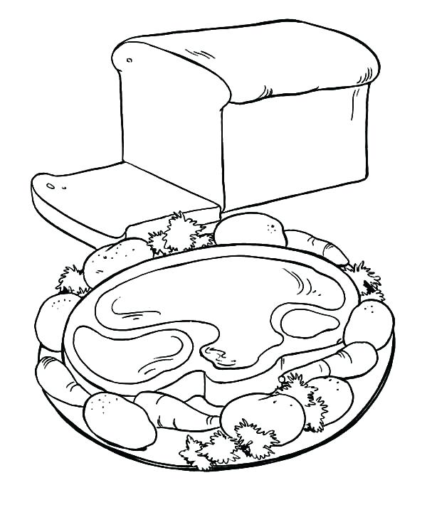 600x734 Breakfast Coloring Pages Bread Healthy Breakfast With Meat