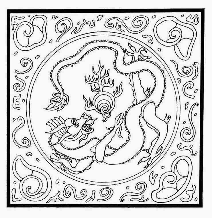 740x761 Animal Dragon Mandala Coloring Pages With Pearl