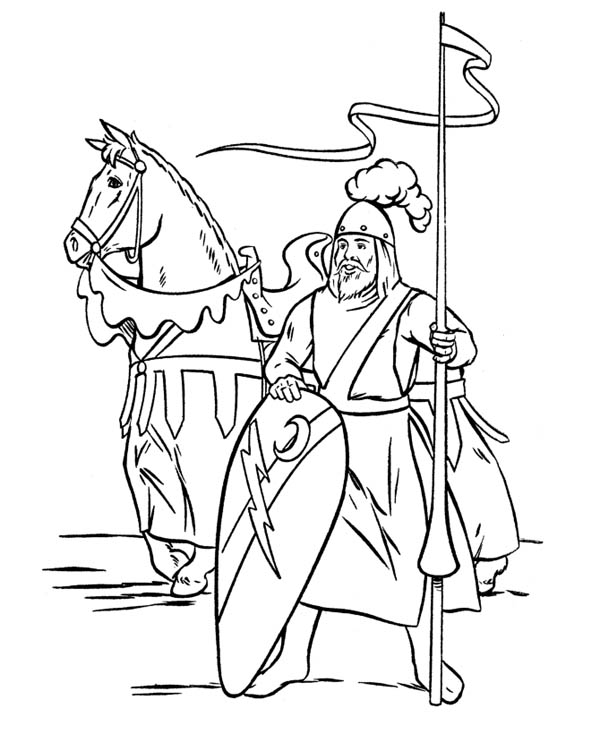 600x734 Middle Ages Coloring Pages Knight Guarding The Border In Middle