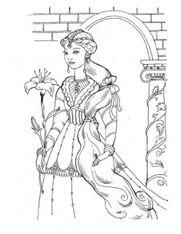 600x776 Detailed Medieval Princess Coloring Pages Medieval Princess