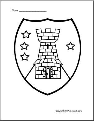 304x392 Coloring Page Medieval Shield