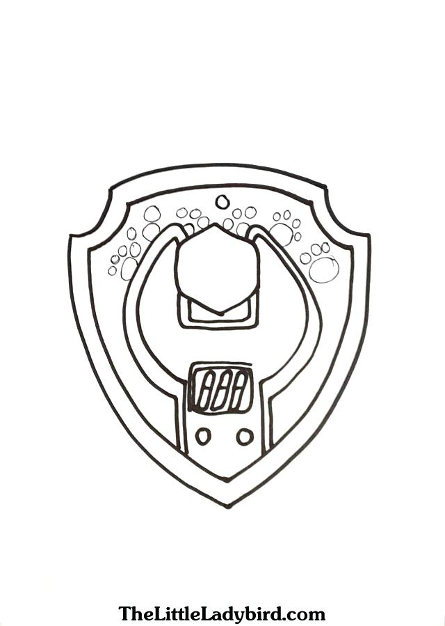 640x899 Shield Coloring Page Paw Patrol Shield Template Badge Of Rubble