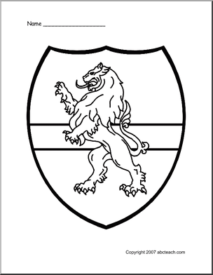304x392 Medieval Classroom Theme Of Coloring Page Medieval Shield Lion