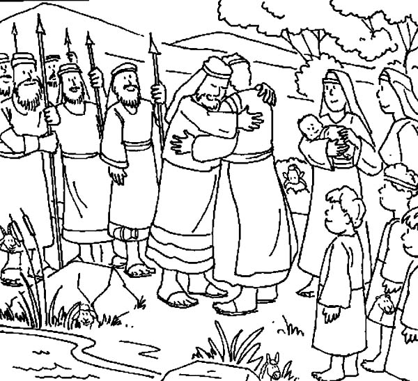 600x547 Jacob And Esau Finally Meet Again Coloring Page