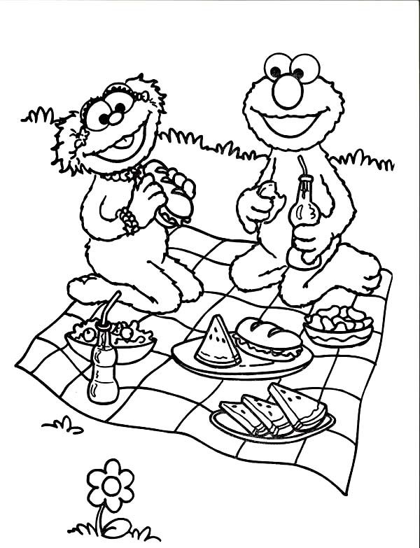 600x783 Relaxing And Eating In Picnic Coloring Page Happy National