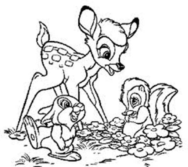 600x534 Bambi Meeting Her Friends In Disney Coloring Pages For Kids Bleupnr