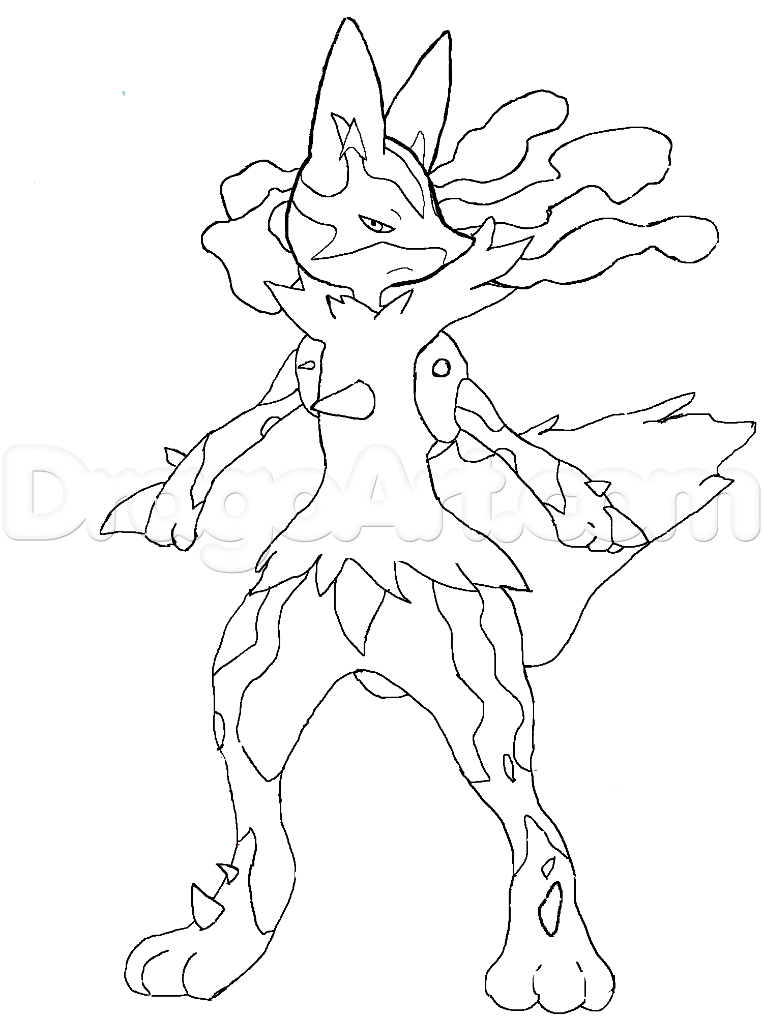 coloring pages of lucario | Mega Lucario Drawing at GetDrawings.com | Free for ...
