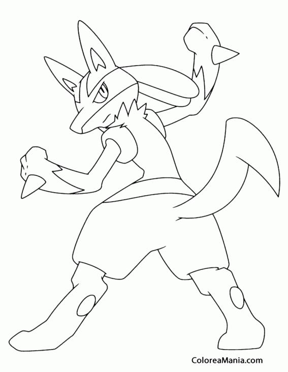 567x732 Colorear Lucario De Espaldas Pokemon Dibujo Para Gratis On Pokemon