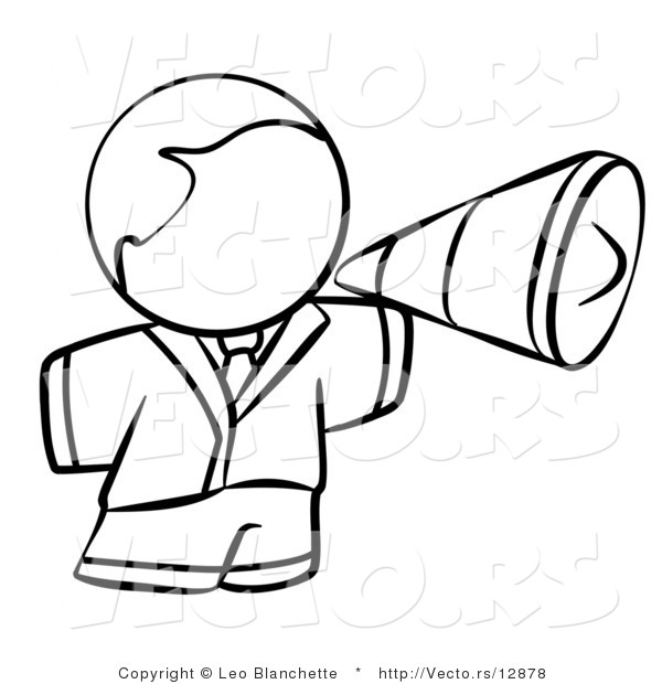 600x620 Vector Of Person Using A Megaphone