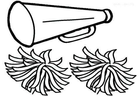 476x333 Cheerleader Coloring Pages Megaphone And Pom Poms Coloring Pages