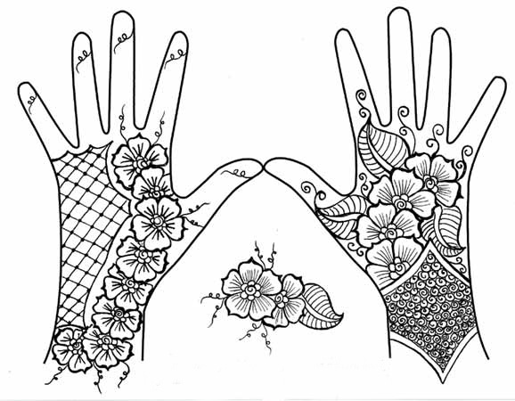 578x450 Images Of Hand Mehndi Henna Coloring Pages