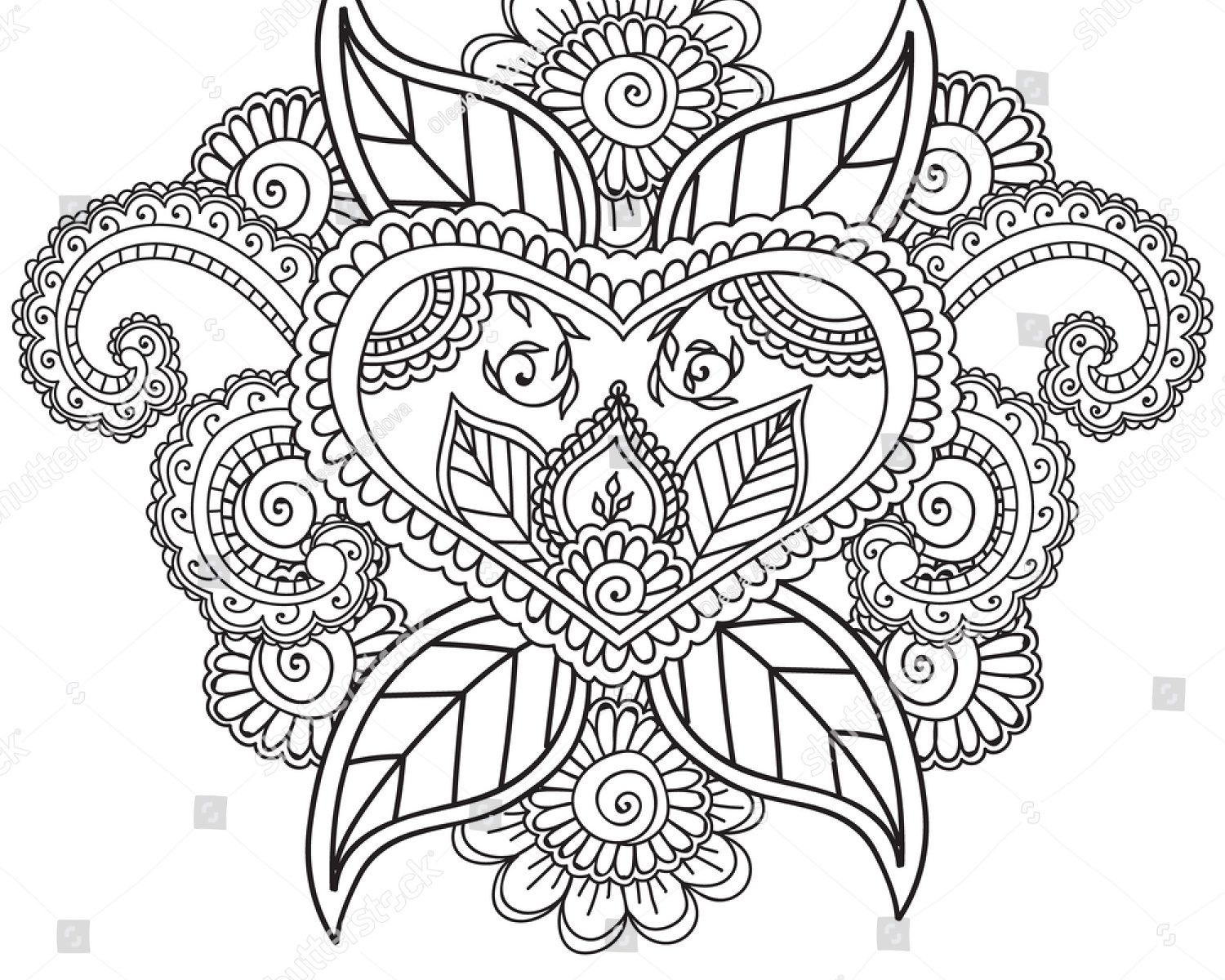 1500x1200 Mehndi Coloring Pages Clever For Adults Pdf Page Images Hd Free