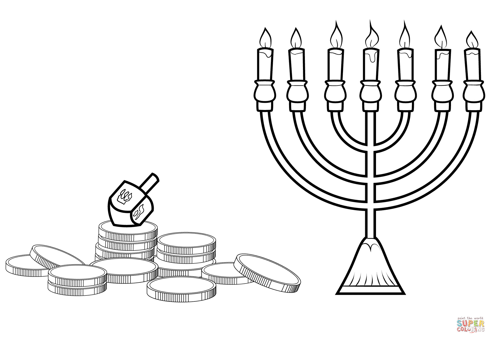 2046x1414 Menorah Coloring Page
