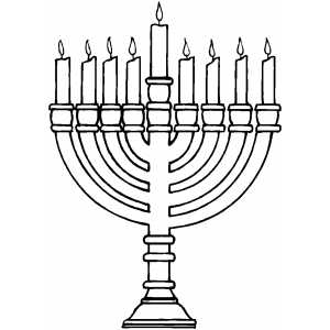 300x300 Burning Menorah Coloring Page