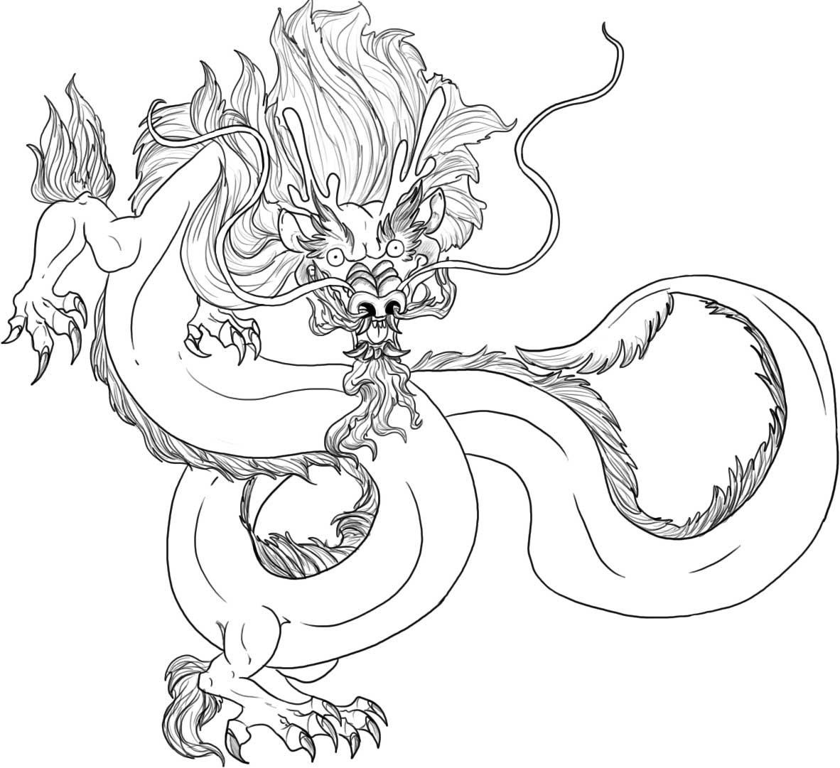 1182x1081 Chinese Dragon Coloring Page