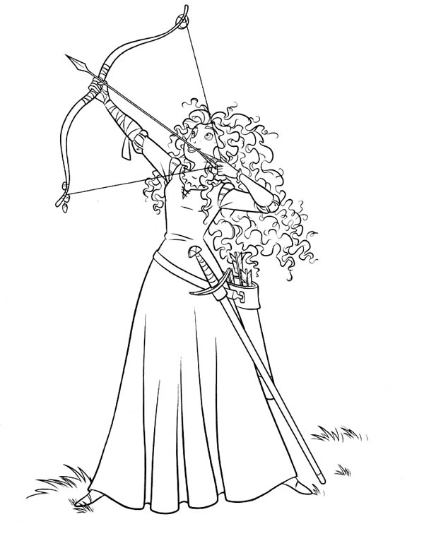 600x776 Brave, Merida Ready To Release An Arrow In Disney Brave Coloring