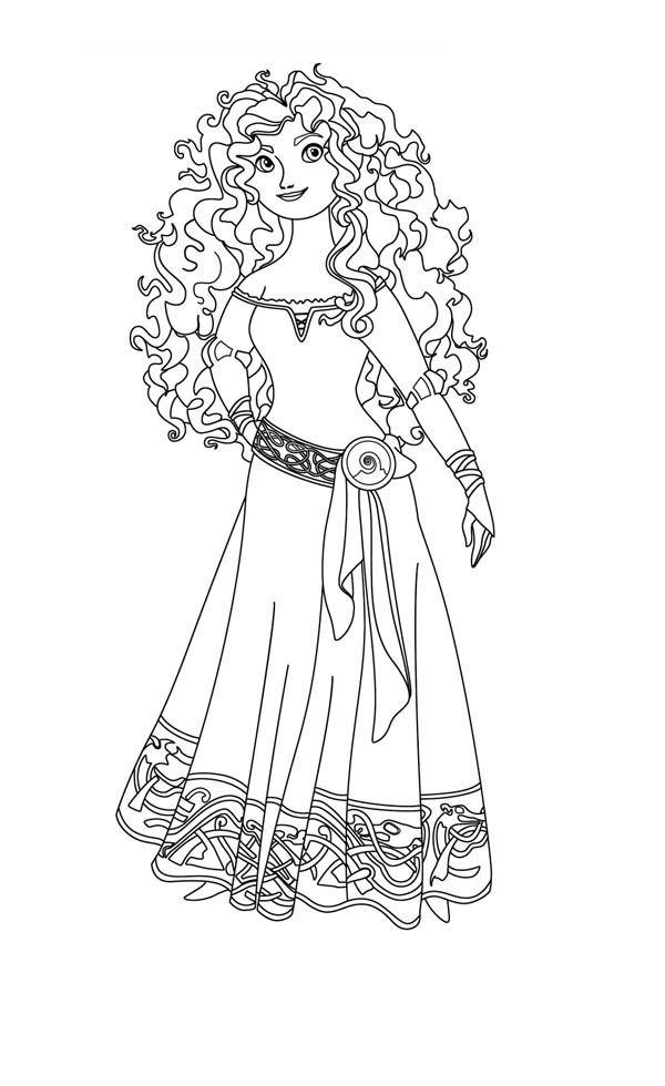 600x980 Brave Coloring Pages Disney Princess Merida, Princess Merida